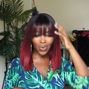 Bobbi Boss Burgundy Wig with Bangs